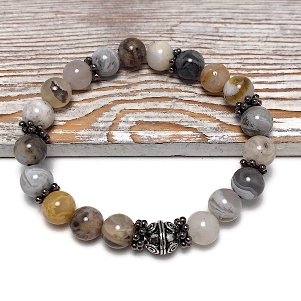 HEALING STONES - Bamboo Leaf Agate Womens Stretch Bracelet