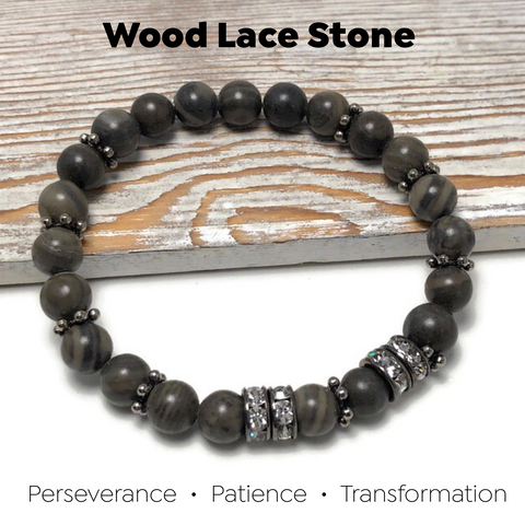 HEALING STONES - Wood Lace Stone Womens Stretch Bracelet