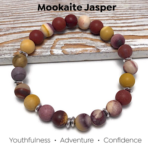 HEALING STONES - Fountain of Youth Mookaite Jasper Womens Stretch Bracelet
