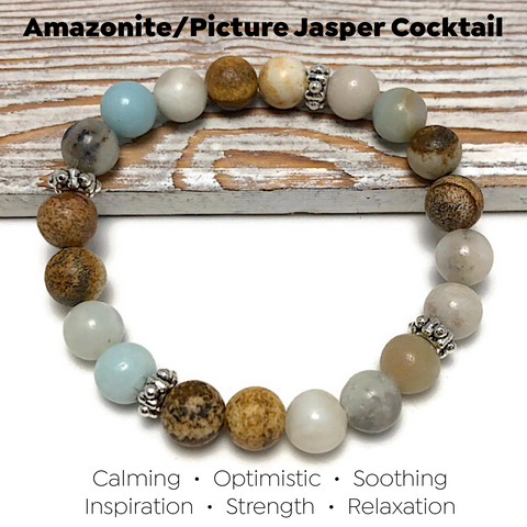 HEALING STONES - Amazonite/Picture Jasper Womens Stretch Bracelet