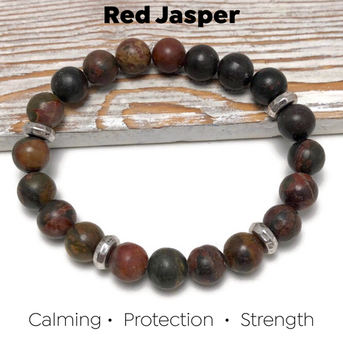 HEALING STONES - Red Jasper Womens Stretch Bracelet