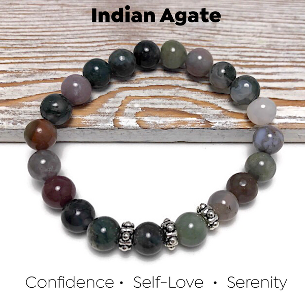 HEALING STONES - Indian Agate Womens Stretch Bracelet