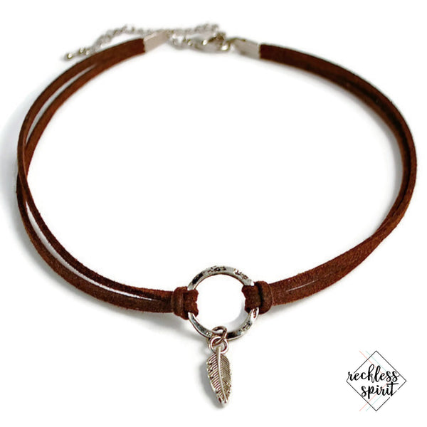 Rustic Feather Choker Necklace