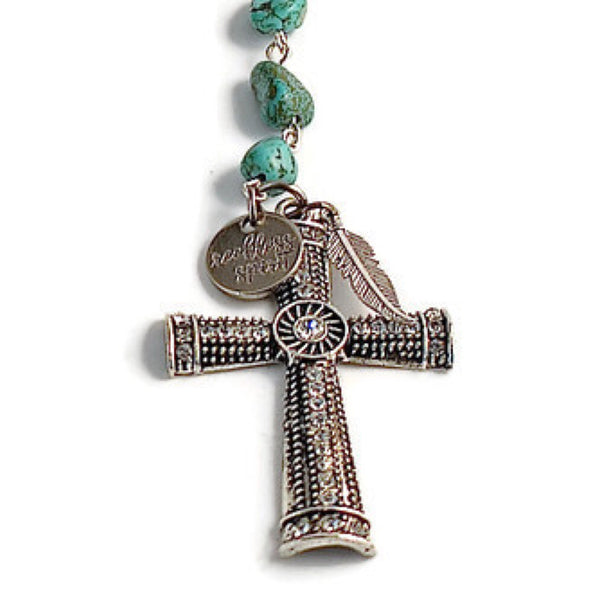 Turquoise Beaded Y Cross Necklace