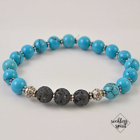 Turquoise Howlite Womens Lava Stretchy