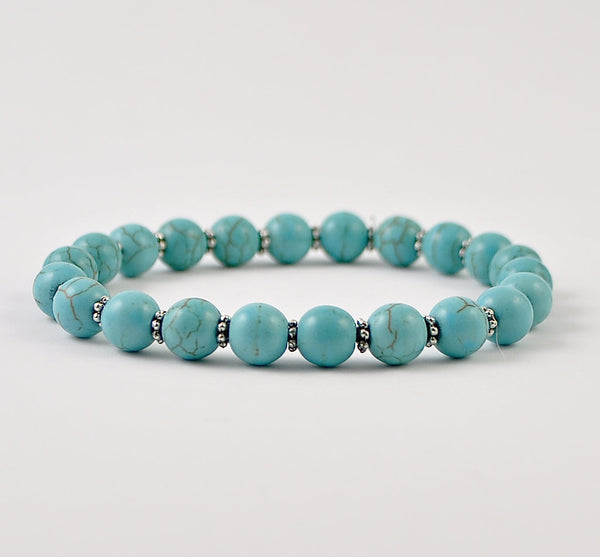 Turquoise Howlite Womens Stretchy Bracelet
