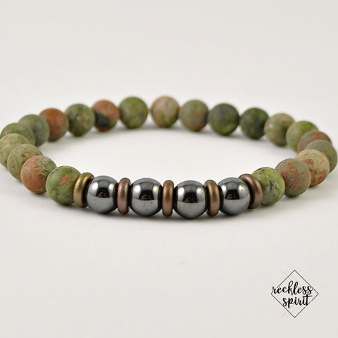 Unakite Mens Stretch Bracelet