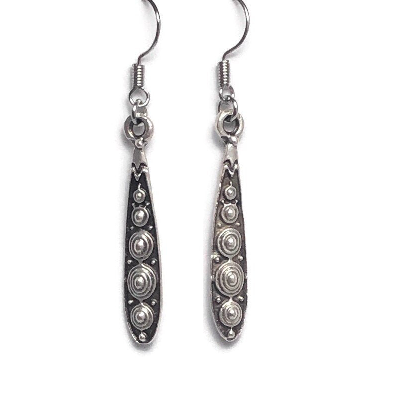 Etched Paddle Style Silver Dangle Earrings
