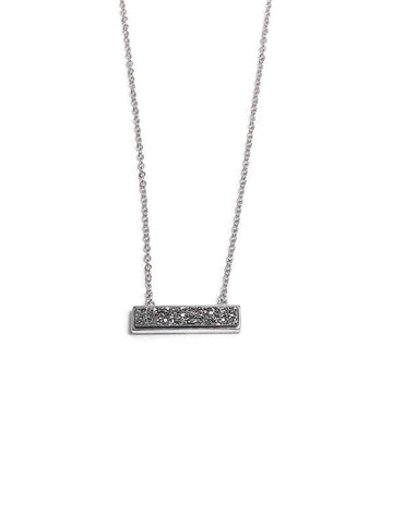 Night Out Silver Druzy Bar Necklace