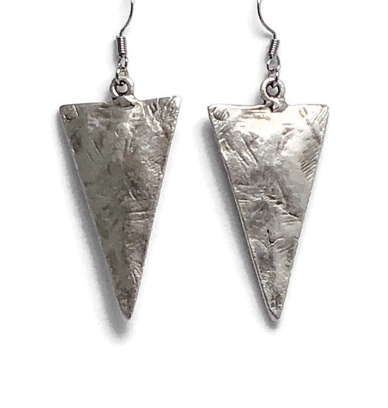 Hammered Triangle Silver Dangle Earrings
