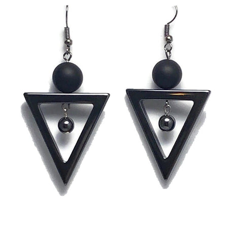 Hematite Style Triangle Dangle Earrings