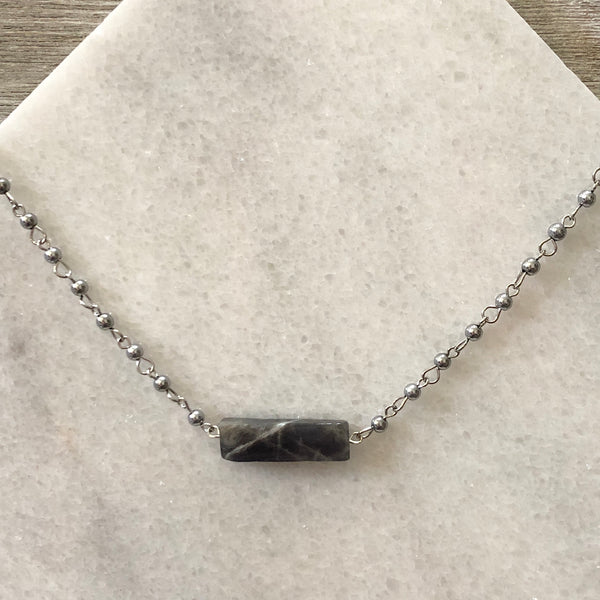 Labradorite Stone Bar Layering Necklace
