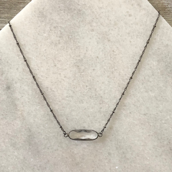 Faceted Clear Crystal Oblong Bar Layering Necklace