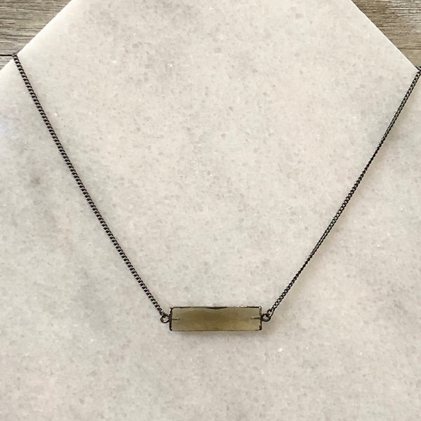 Faceted Smoky Crystal Bar Layering Necklace
