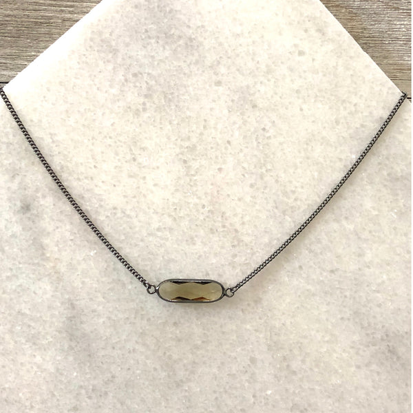 Faceted Smoky Crystal Oblong Bar Layering Necklace