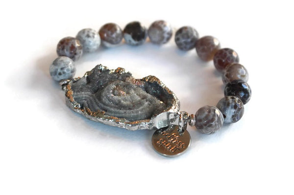 Sunset Druzy Agate Beaded Stretch Bracelet