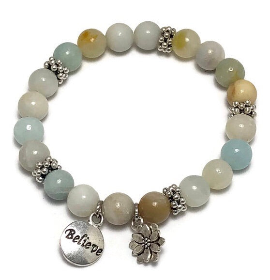 Lotus Amazonite Womens Stretch Bracelet