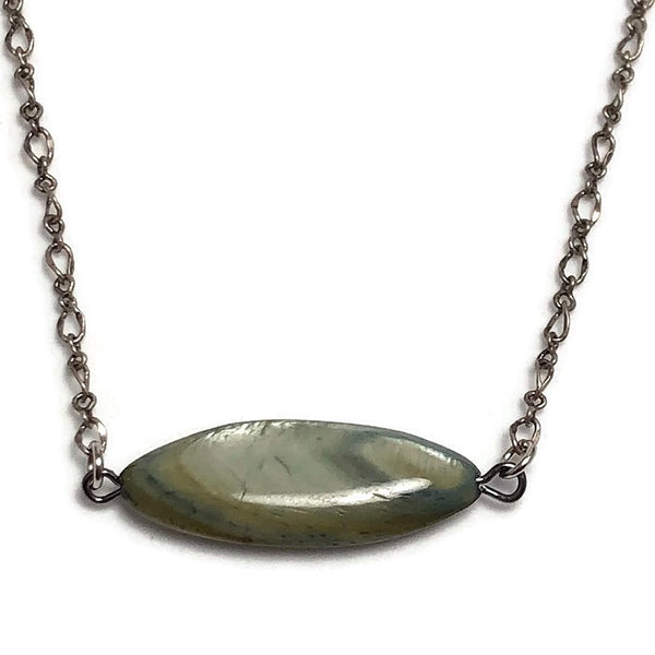 Gray Pearlized Stone Bar Layering Necklace