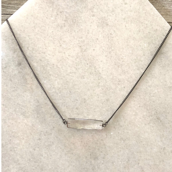 Faceted Clear Crystal Bar Layering Necklace