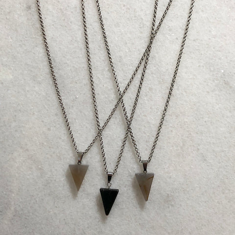 Gemstone Triangle Minimalist Necklace