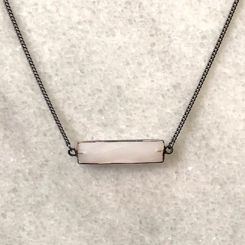 Faceted Opaque Crystal Bar Layering Necklace