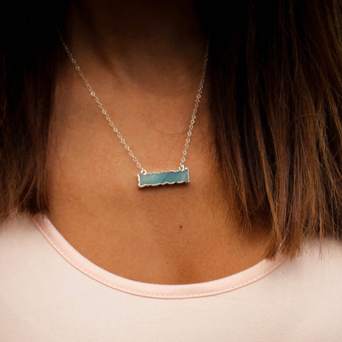 Amore Amazonite Bar Necklace