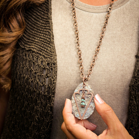Arrowhead Peak Hammered Spoon Necklace