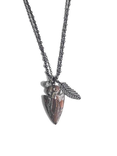 Mexican Agate Arrowhead Necklace