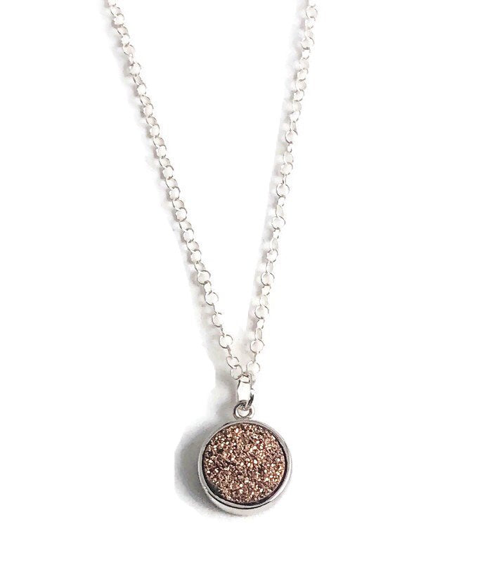 Dainty Pink Druzy Necklace