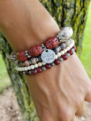 Burgundy Wine Bracelet Stack