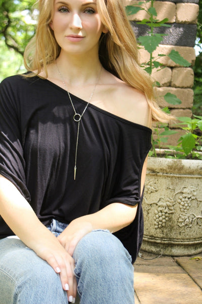 Silver Slip-Through Lariat Necklace