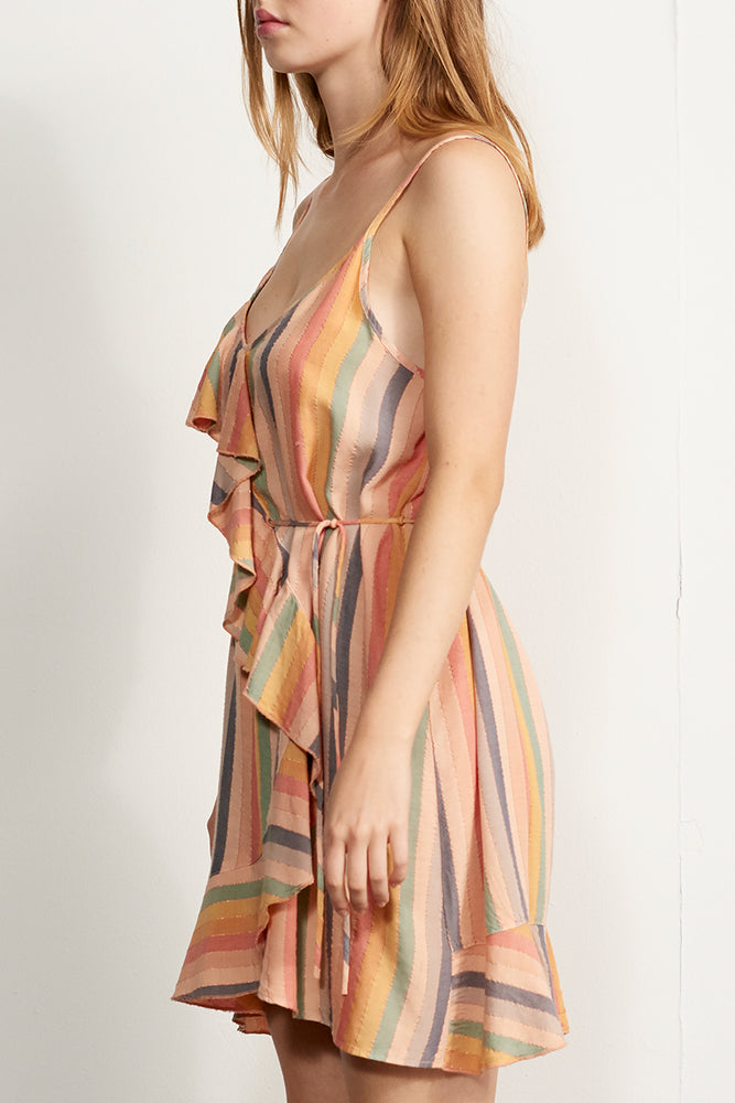 Rainbow Ruffle Front Dress