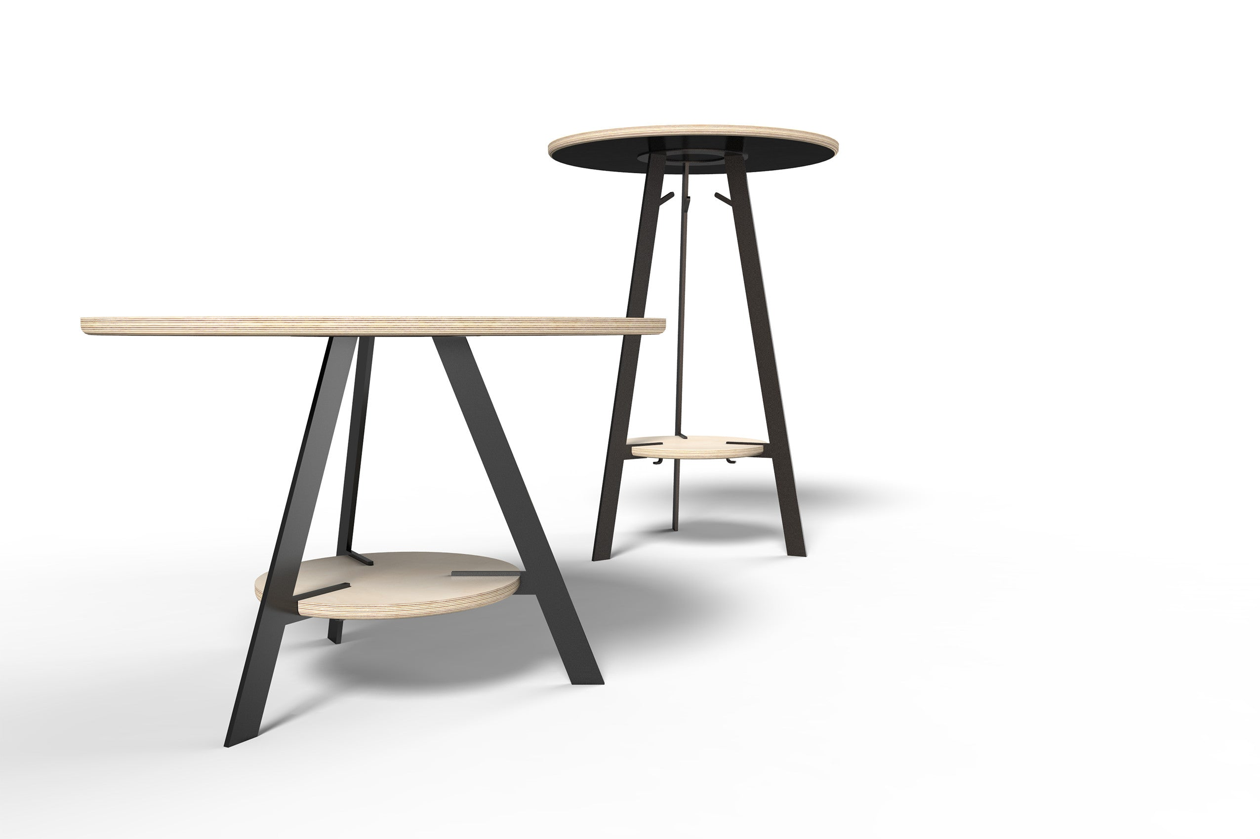Wood and metal tables with technology