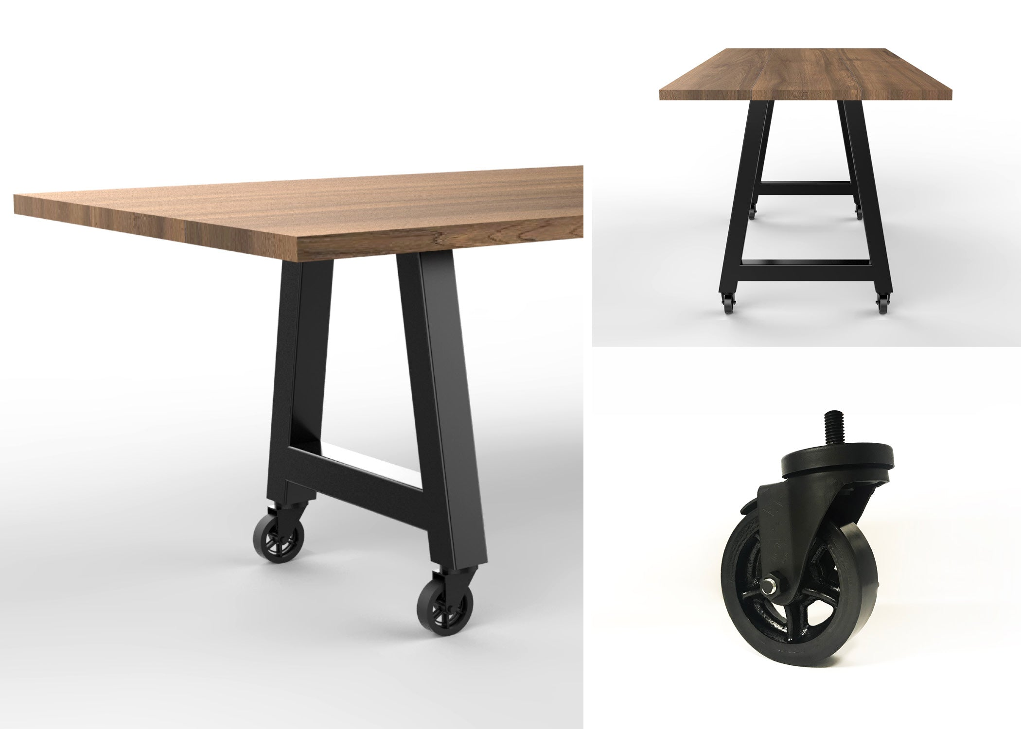 wood and metal tables with casters