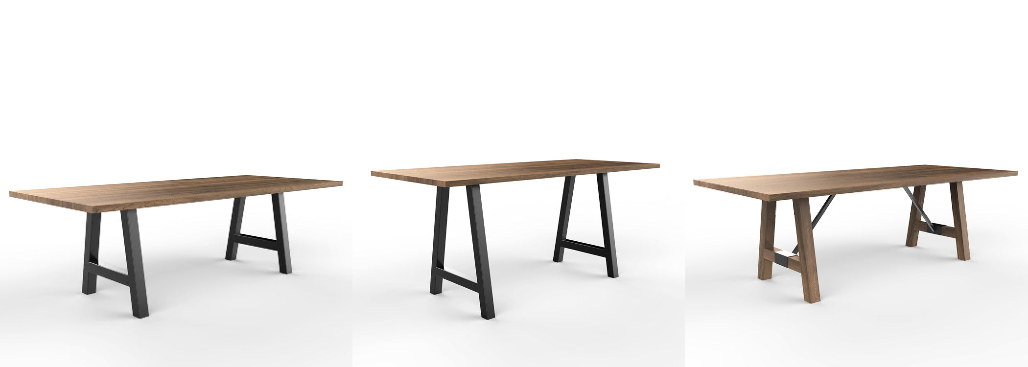 Wood and metal tables with technology - new products