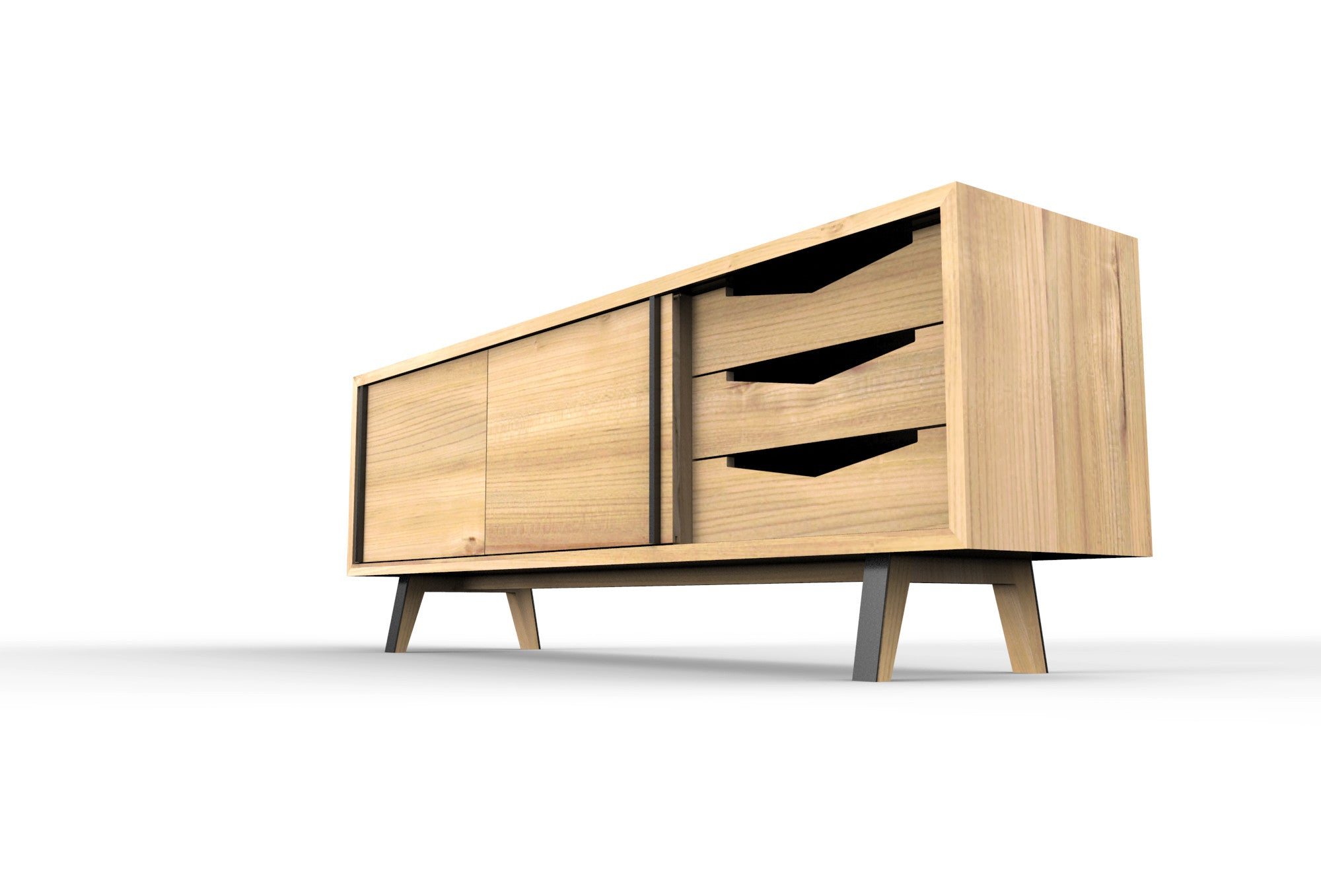 wood and metal credenza