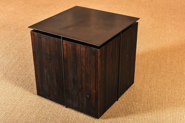 "Torched Fir and Steel Side Table - 24""L x 24""W x 24""H - P010 - Meyer Wells"