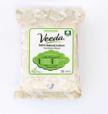 Veeda Natural Feminine Wipes with Vitamin E, One Month Supply (20 Count) - BroadBox