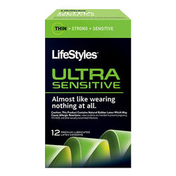 LifeStyles Ultra Sensitive Lubricated Condoms (12 Count) - BroadBox