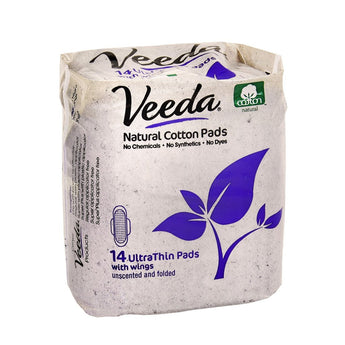 Veeda Ultra Thin Natural Cotton Pads with Wings, One Month Supply (Choose Your Fit) - BroadBox