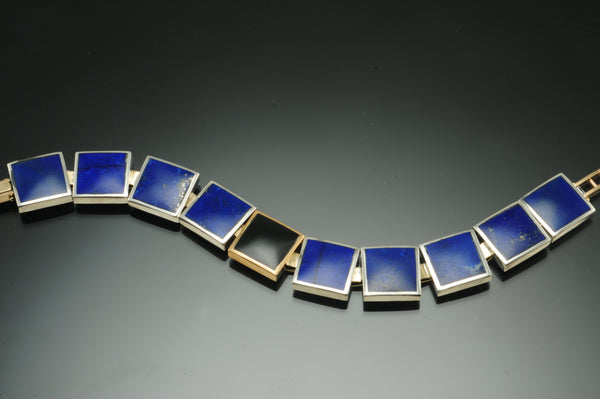 Lapis and Black Jade Square Link Sterling Silver and 18K Yellow Gold Bracelet