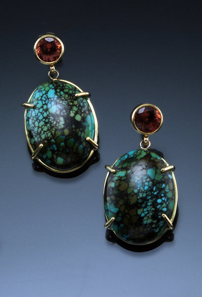 18K Yellow Gold Topaz and Turquoise Earrings
