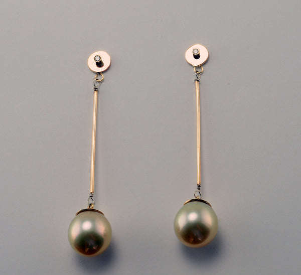 18K Yellow Gold Long Drop Post Earrings