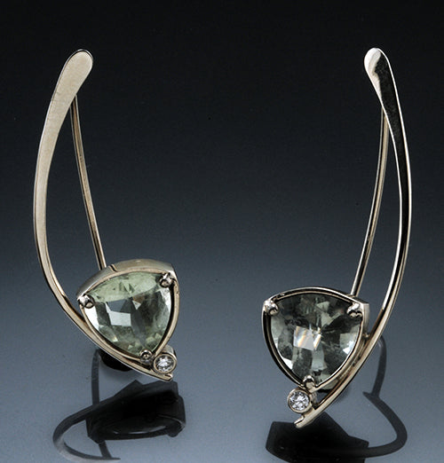 14K White Gold 11 mm Trillion Green Amethyst Wishbone Earrings With .10 CTTW  Diamonds