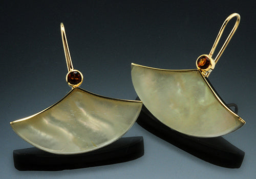 18Y Gold and Fine Silver Ginkgo Earrings with Citrine and Mother of Pearl