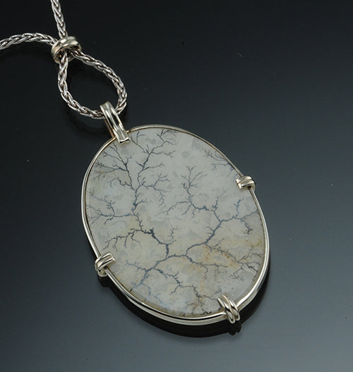 14K White Gold Dendritic Agate Necklace