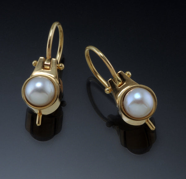 6mm White Pearl Drop Earrings in 18KY Gold