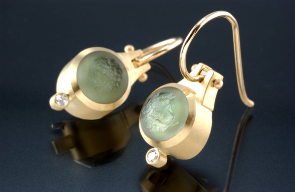 18K Yellow Gold 8mm Round Inlaid Hinged French Hook Earrings