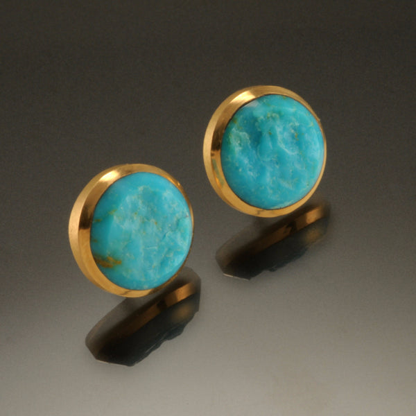 18K Circle Inlay Post Earrings