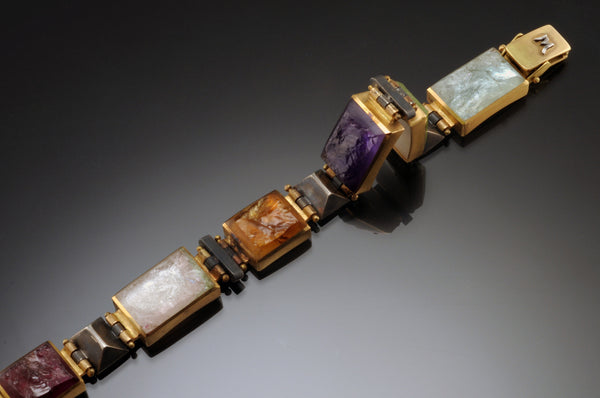 Rectangular Inlay Bracelet with Multi-Colored Opaque Inlays